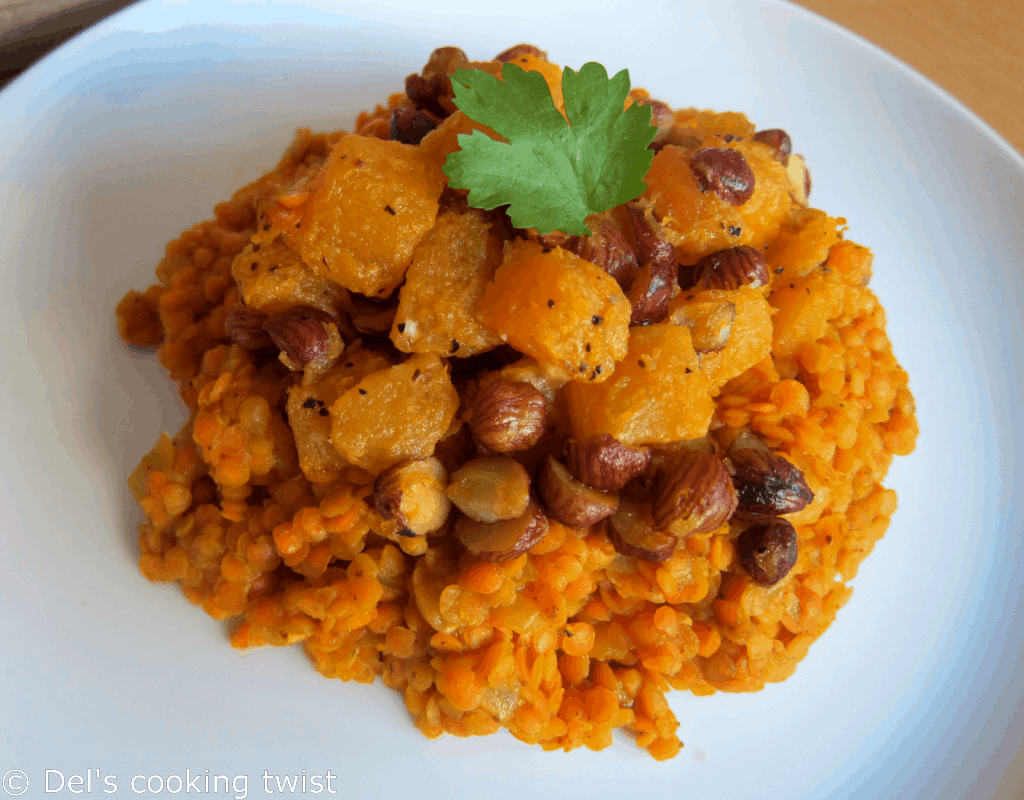 Red lentil dahl with roasted pumpkin and hazelnuts