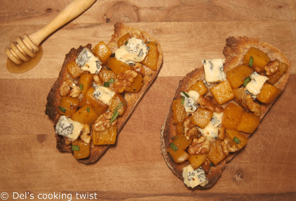 Pumpkin and Walnut Tartine with Blue Cheese