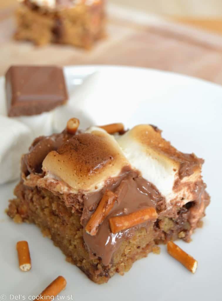Peanut Butter & Pretzel S'mores Cookie Bars