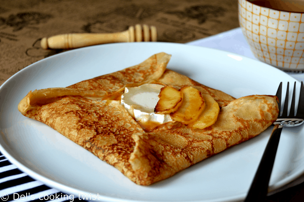 French Crepes with Goat Cheese and Salted Caramel Apples