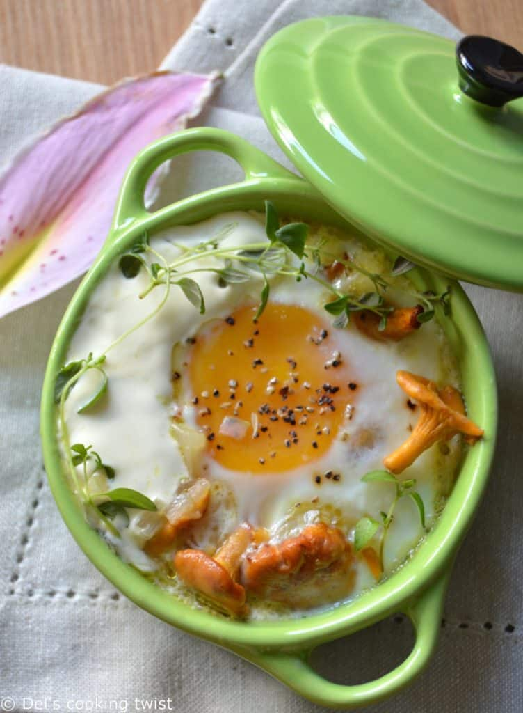 Baked Eggs with Chanterelles and Thyme