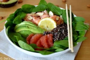 Salmon & Avocado Quinoa Salad with Grapefruit Vinaigrette