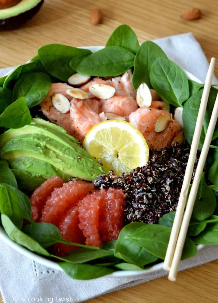 Salmon and Avocado Quinoa Salad with Grapefruit Vinaigrette