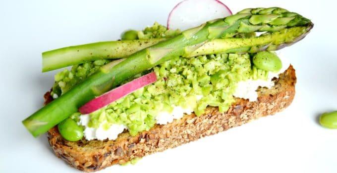 Spring Vegetables and Ricotta Tartines
