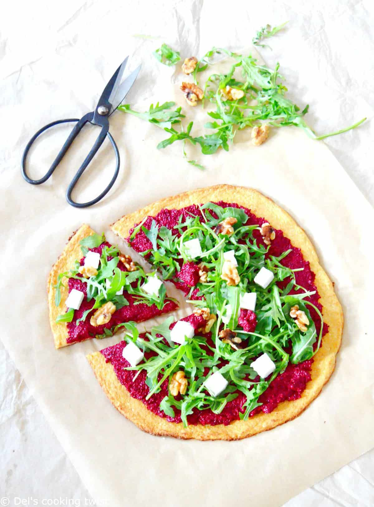 Veggie Beet Pizza with Cauliflower Crust