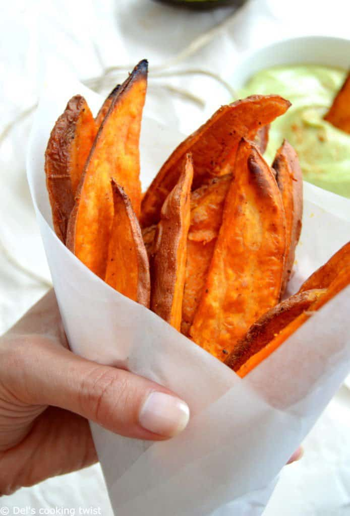 Healthy Sweet Potato Fries with Avocado Dip