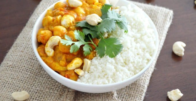 Vegan Chickpea Curry with Cauliflower Rice (gluten free)