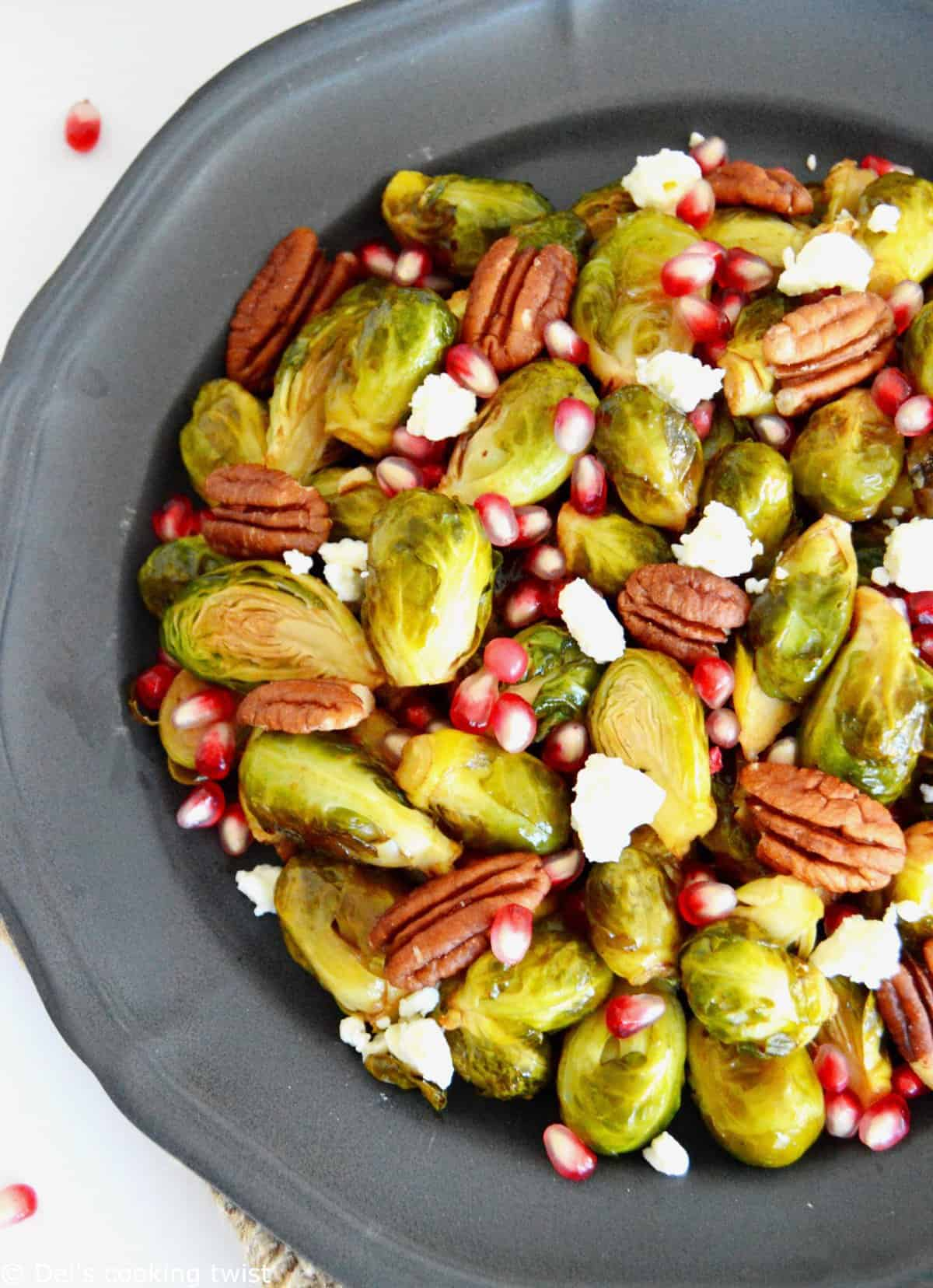 Maple Balsamic Brussels Sprouts with Pomegranate, Feta and Pecans