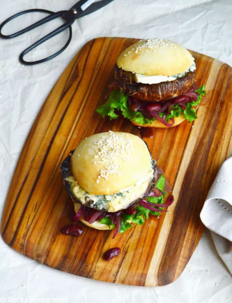 Portobello Mushroom Burger with Blue Cheese and Caramelized Onions