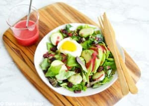 Avocado Soft-Boiled Egg Salad with a Raspberry Vinaigrette