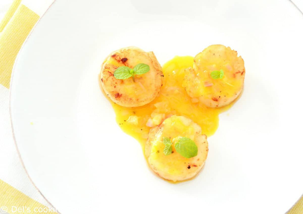 Noix de Saint-Jacques sauce orange et gingembre