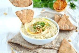 Roasted Cauliflower Hummus and Pita Chips