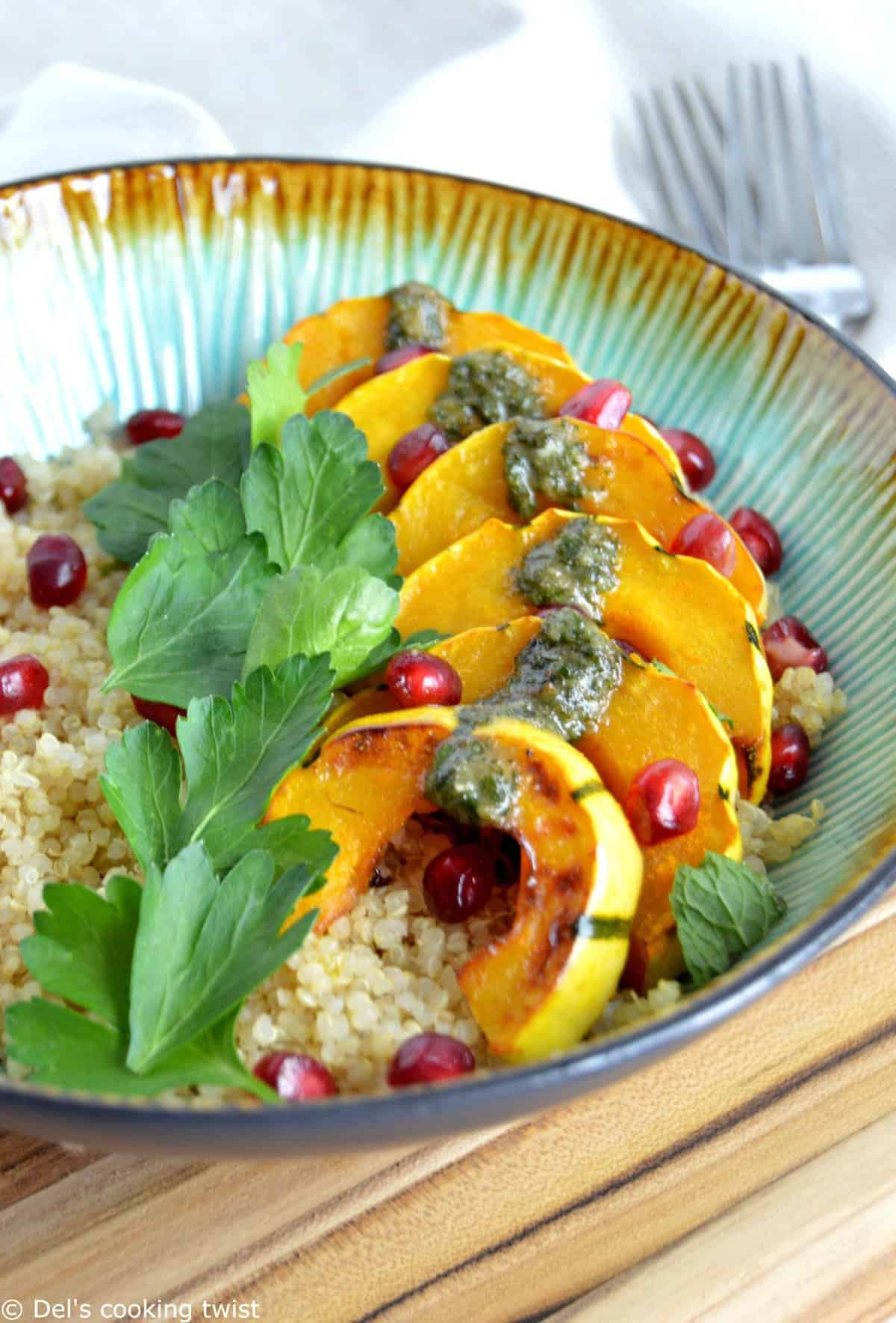 Roasted Turmeric Squash Quinoa Bowl with a Mint Pesto