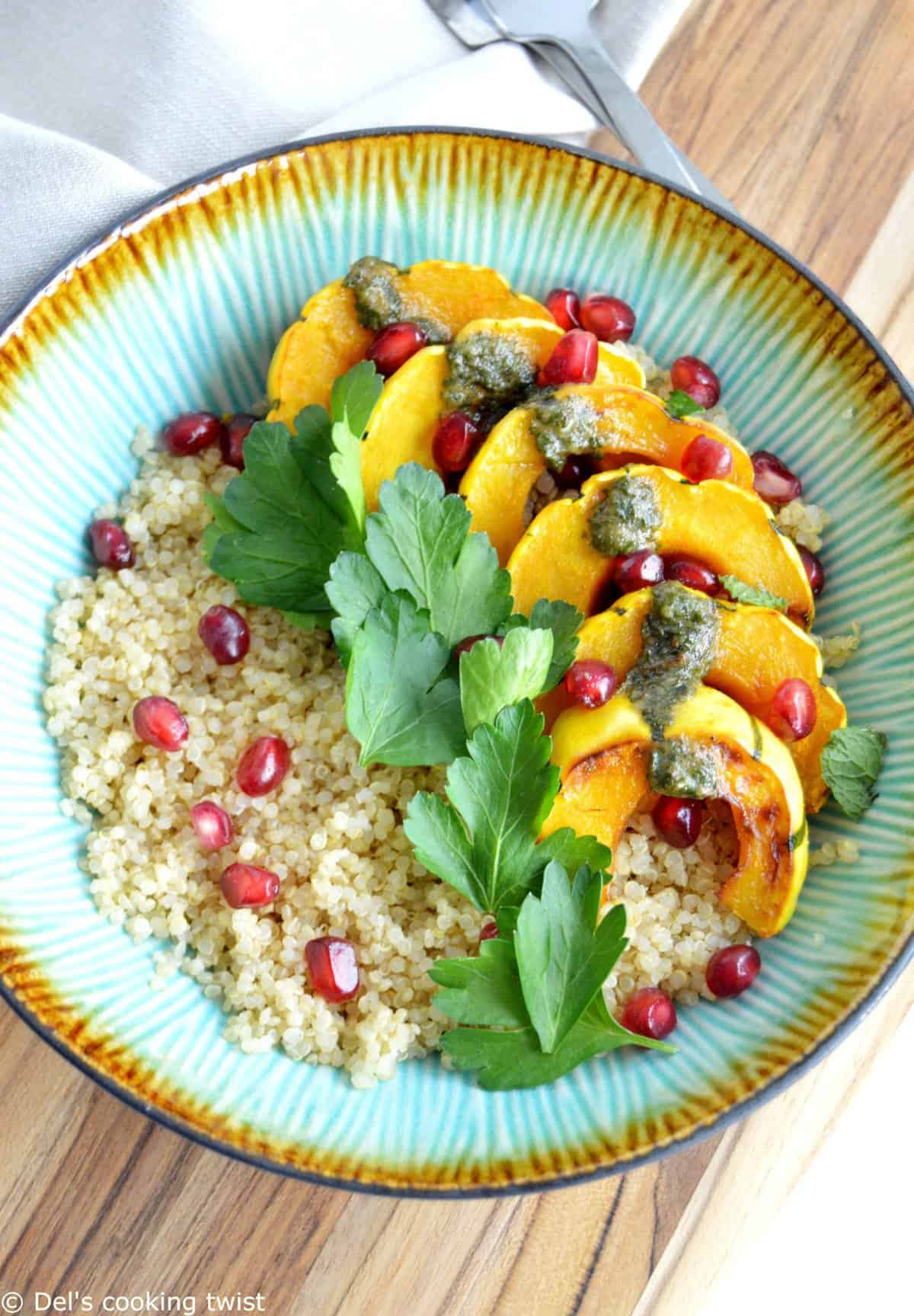 Roasted Turmeric Delicata Squash Quinoa Bowl with a Mint Pesto