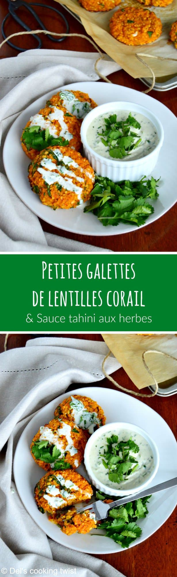 galettes de lentilles corail et sauce tahini aux herbes vegan sans gluten del 39 s cooking twist. Black Bedroom Furniture Sets. Home Design Ideas