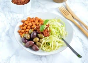 Greek Zoodles with Sun-Dried Tomato Pesto and Spiced Roasted Chickpeas (vegan, gluten free)