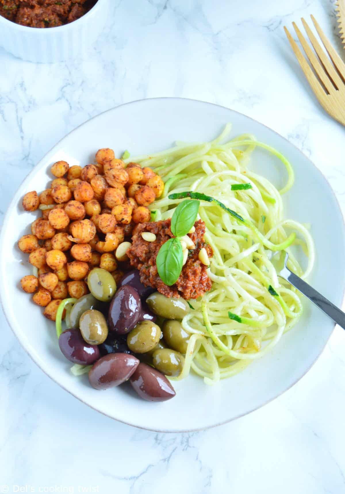Greek Zoodles with roasted chickpeas