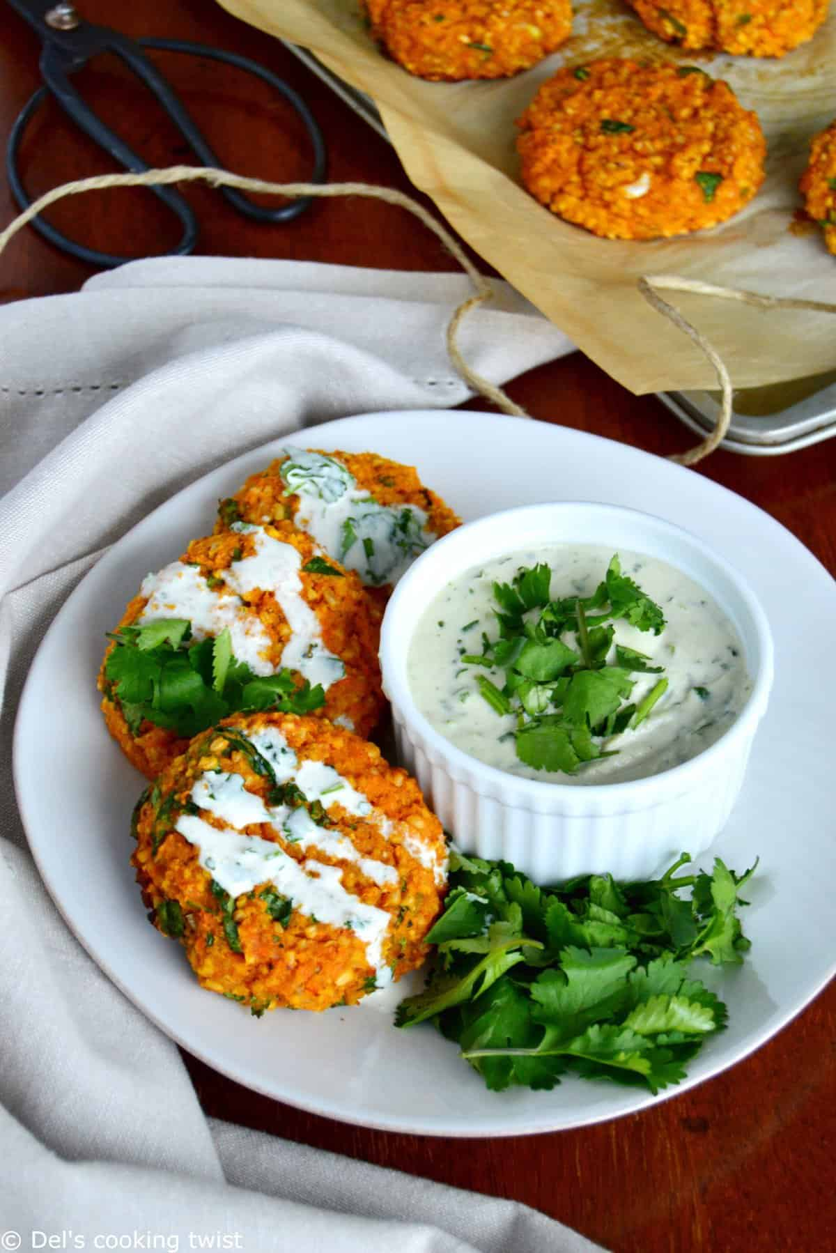 Red Lentil Patties with Garlic Herb Tahini Sauce