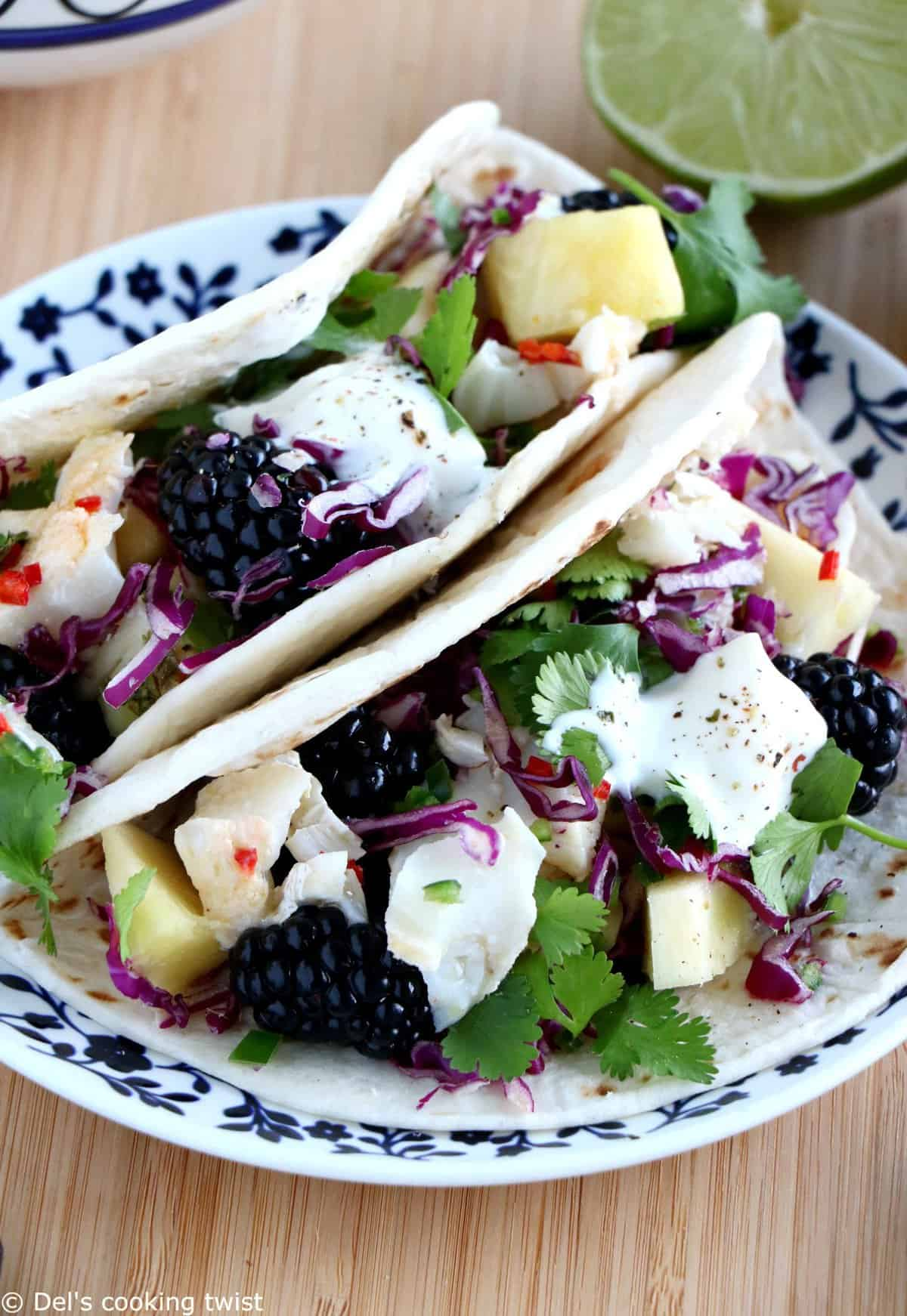 Fish tacos with a chili lime fruit salsa del 39 s cooking twist for Fruit salsa for fish