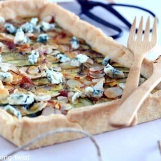 Almond, Zucchini and Blue Cheese Tart
