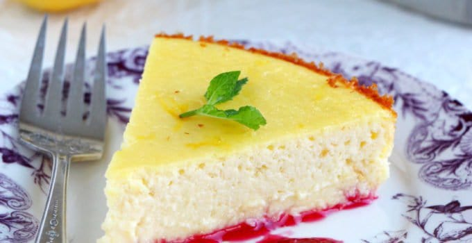 Fiadone-Style Cheesecake with a Cherry Coulis