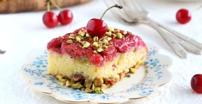 Upside-Down Pistachio Cherry Cake