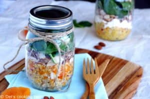 Apricot & Feta Quinoa Mason Jar Salad with a Lemon Curry Dressing