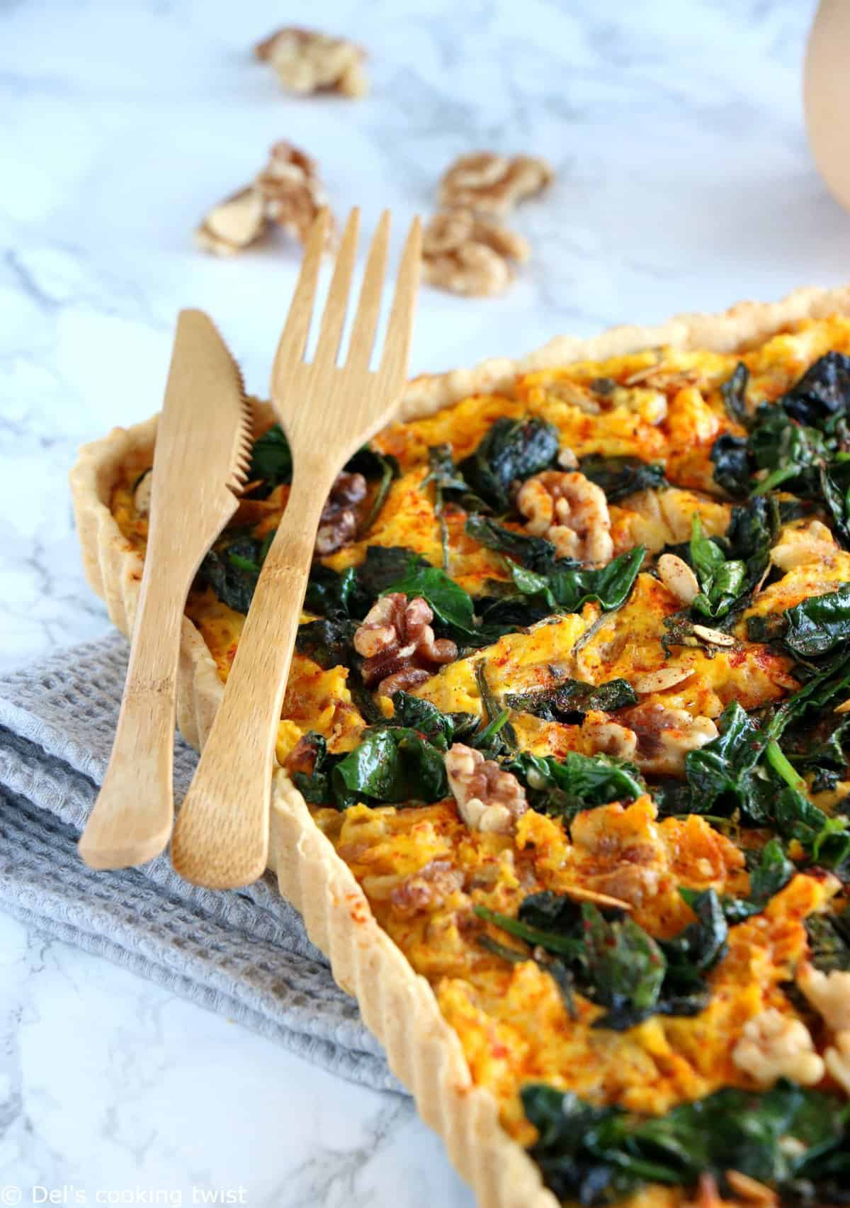 Pumpkin Spinach Goat Cheese Quiche