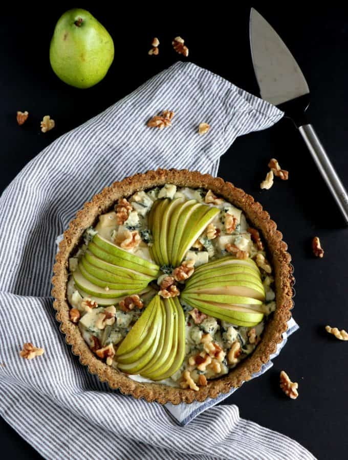 Pear & Blue Cheese Tart with a Walnut Crust