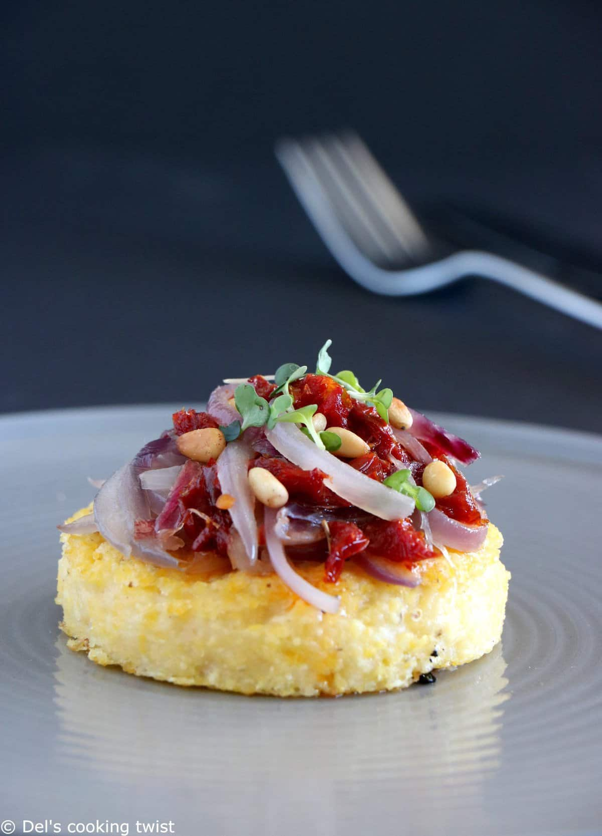 Polenta Bites with Caramelized Onions