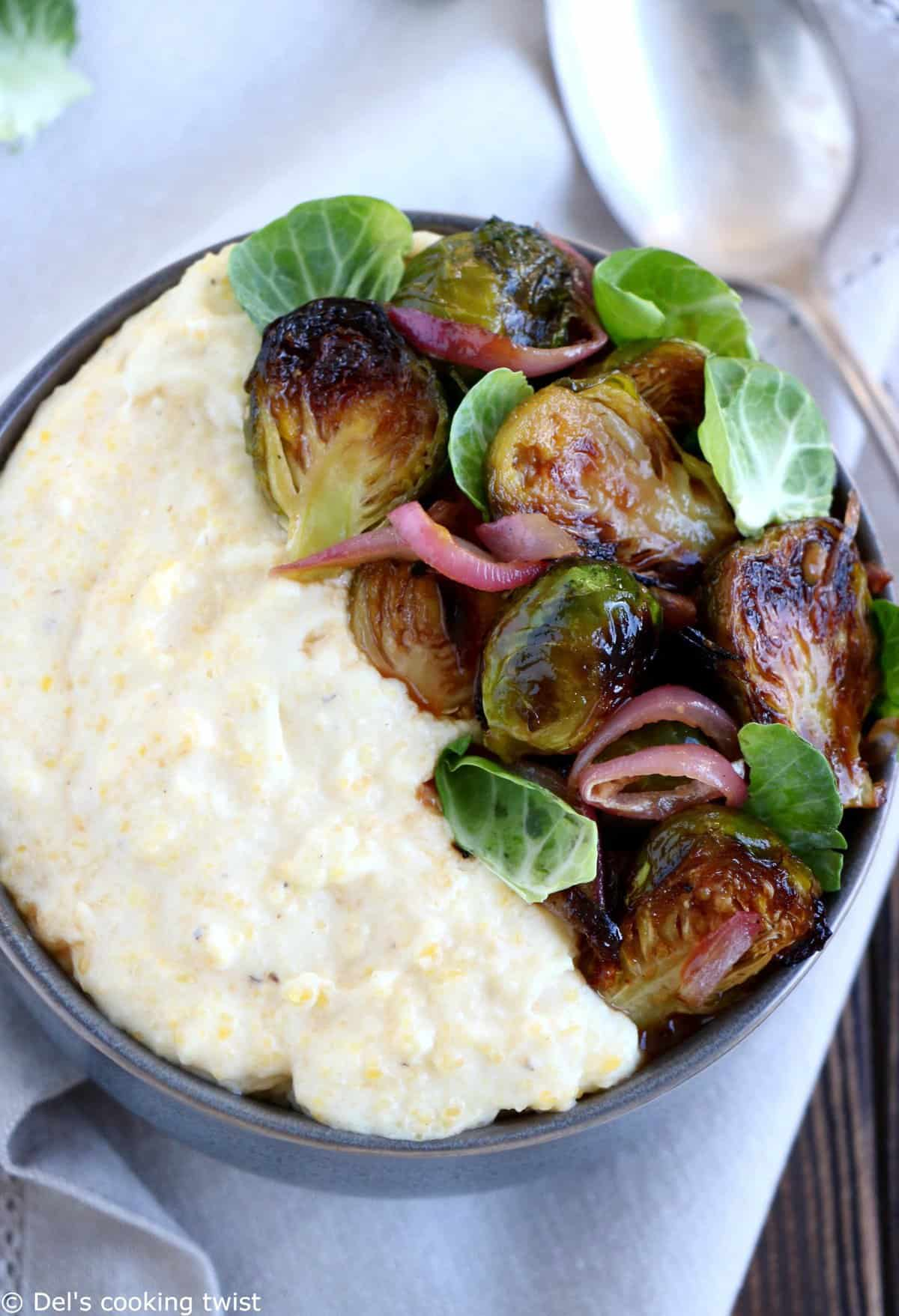 Creamy Goat Cheese Polenta with Brussels Sprouts