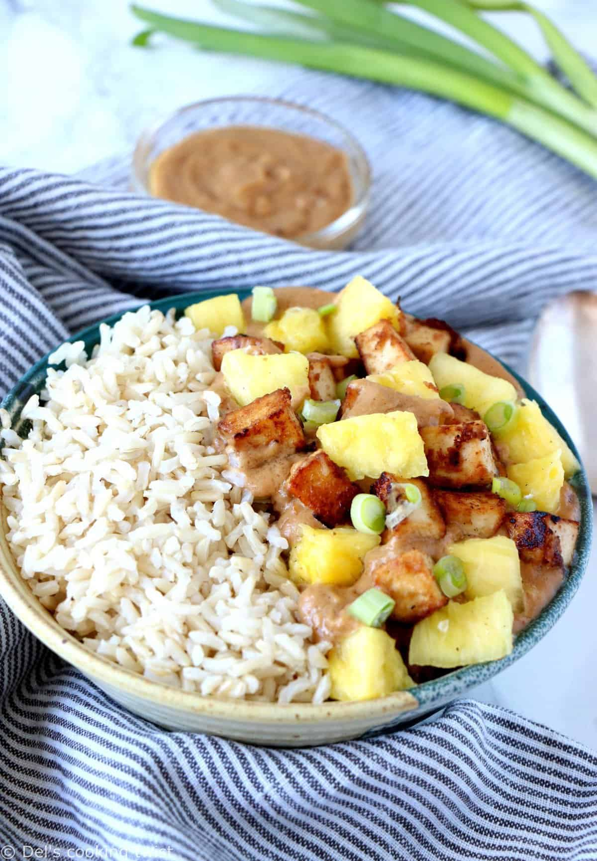 Creamy Peanut Butter Tofu Pineapple Rice