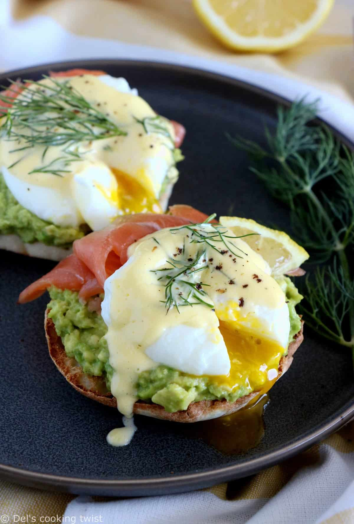 Fancy Salmon Avocado Eggs Benedict