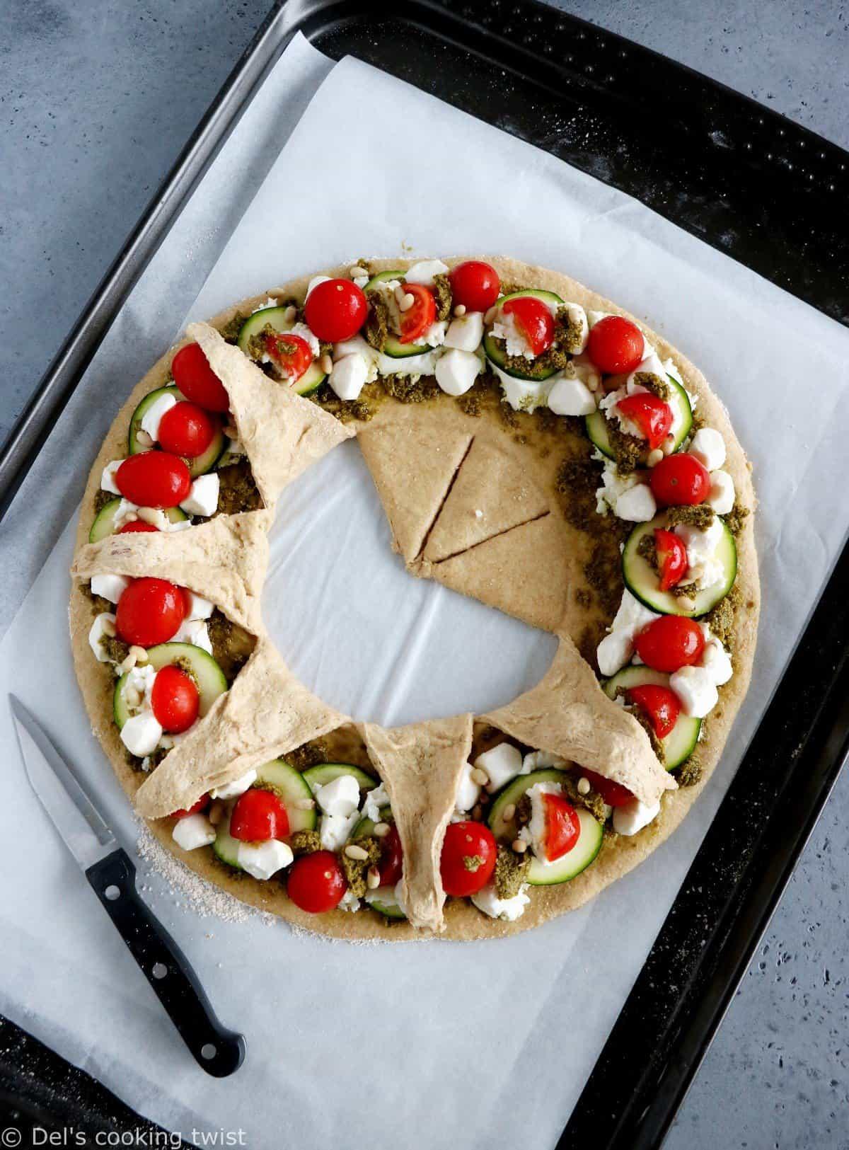 Whole Wheat Mediterranean Pizza Star Ring
