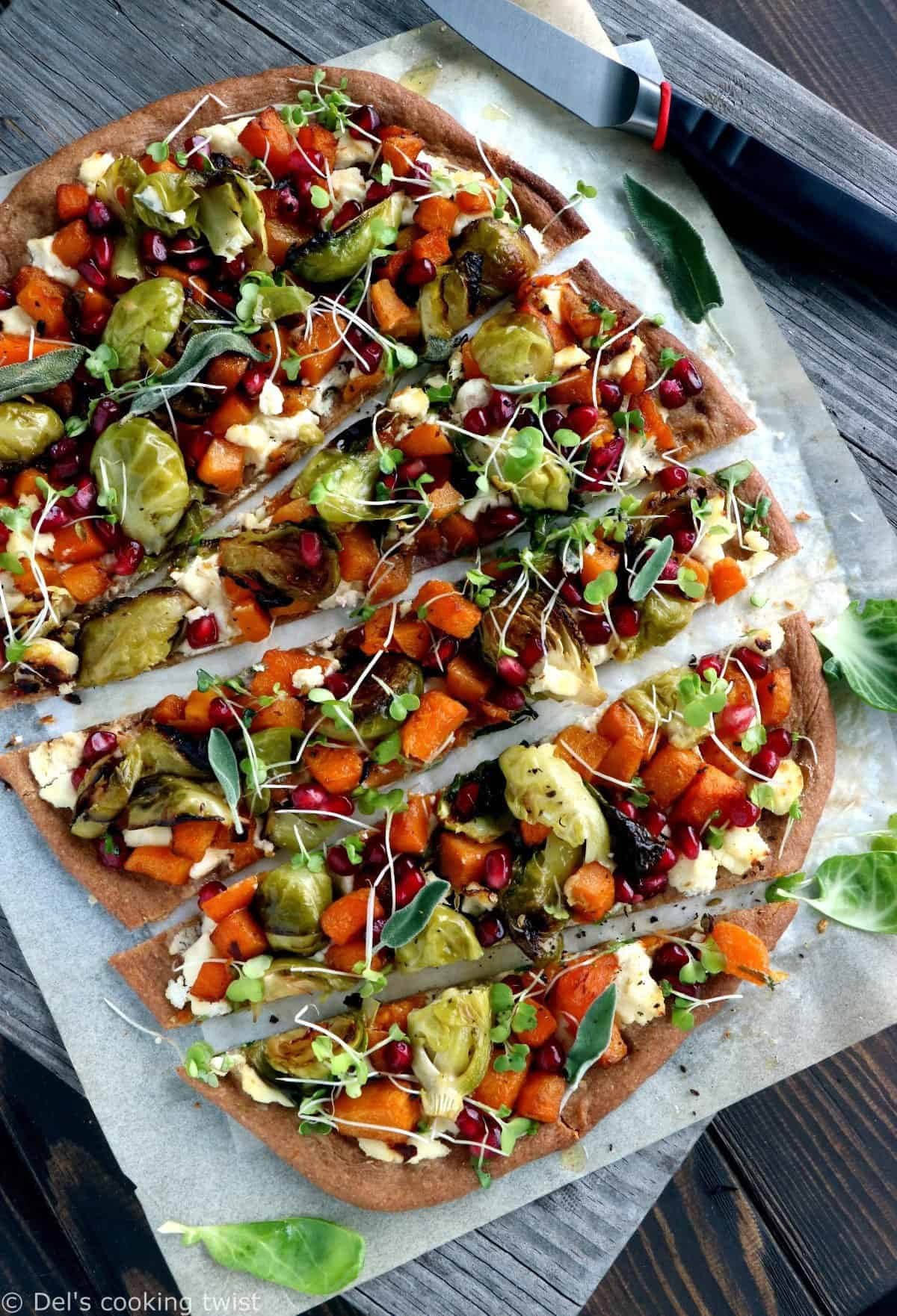 Butternut Squash and Brussels Sprout Whole Wheat Pizza