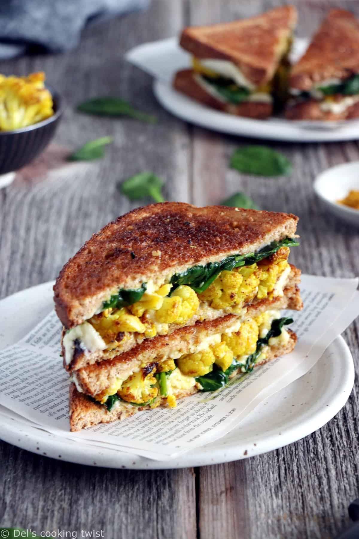 Curried Cauliflower Grilled-Cheese Sandwich