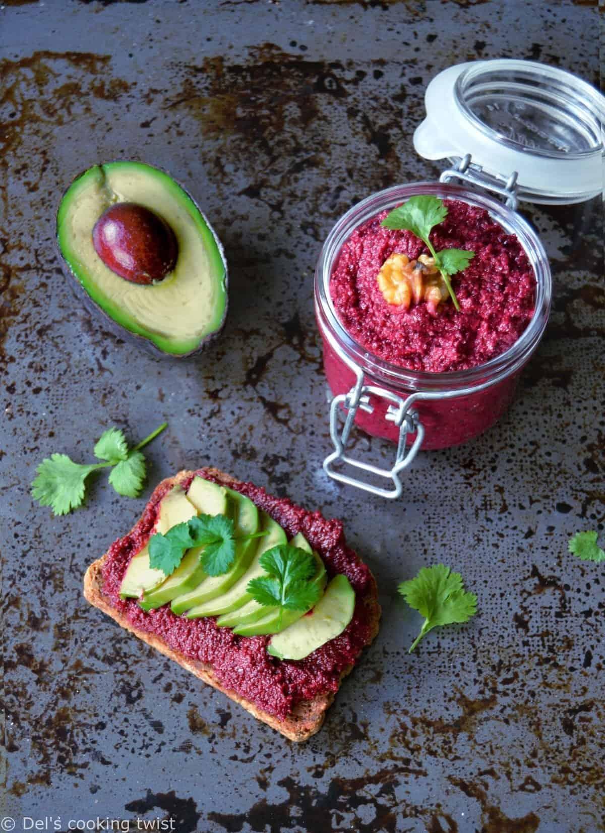 Vegan Avocado Toast with Beet Hummus