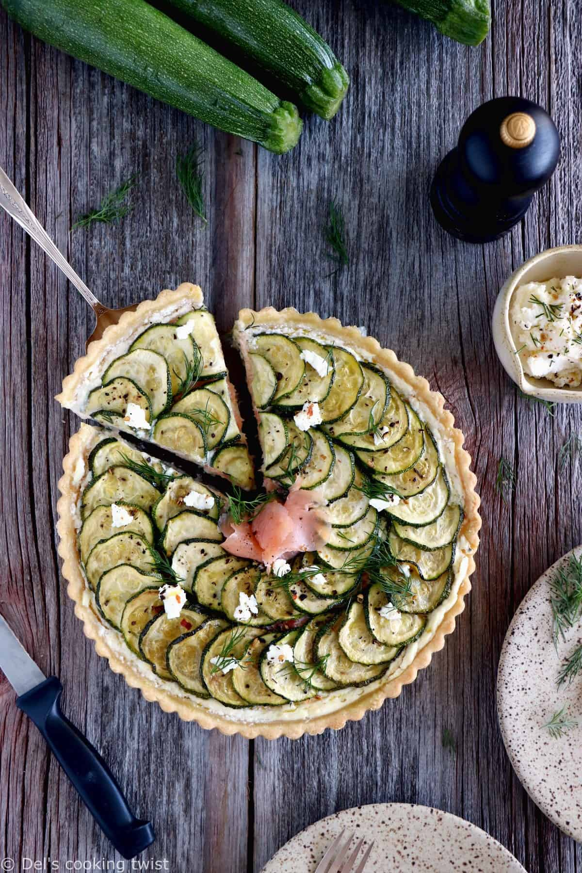 Salmon and Zucchini Ricotta Pie. Salmon and Zucchini Ricotta Pie is a delicious savory pie, bursting with fresh, creamy flavors and a subtle hint of dill.