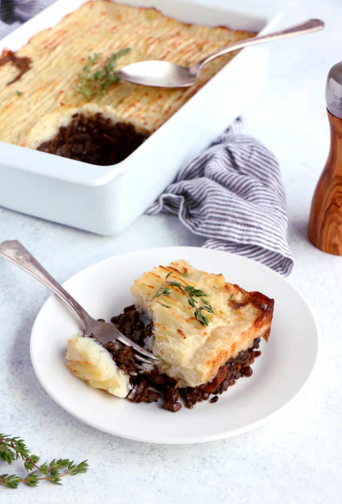 Vegetarian Lentil Shepherd's Pie makes for a rich, hearty and comforting family dinner recipe, easy to make and packed with flavors.