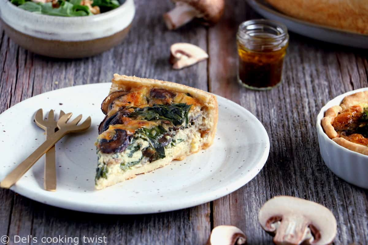Spinach and mushroom quiche is the ideal family-friendly recipe for busy days or to enjoy in the weekend for a cozy brunch.