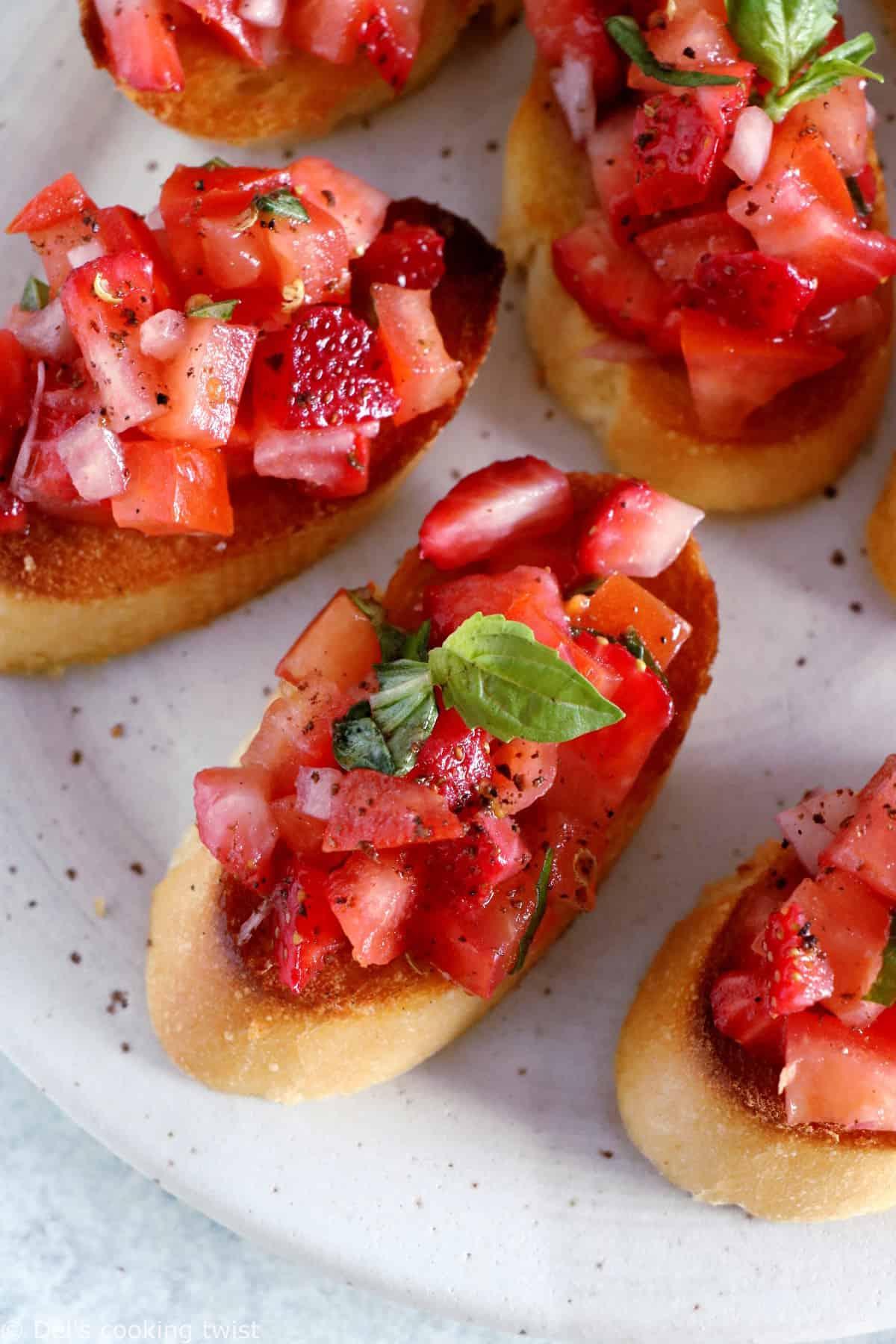 Strawberry Tomato Bruschetta is an easy summer snack appetizer.
