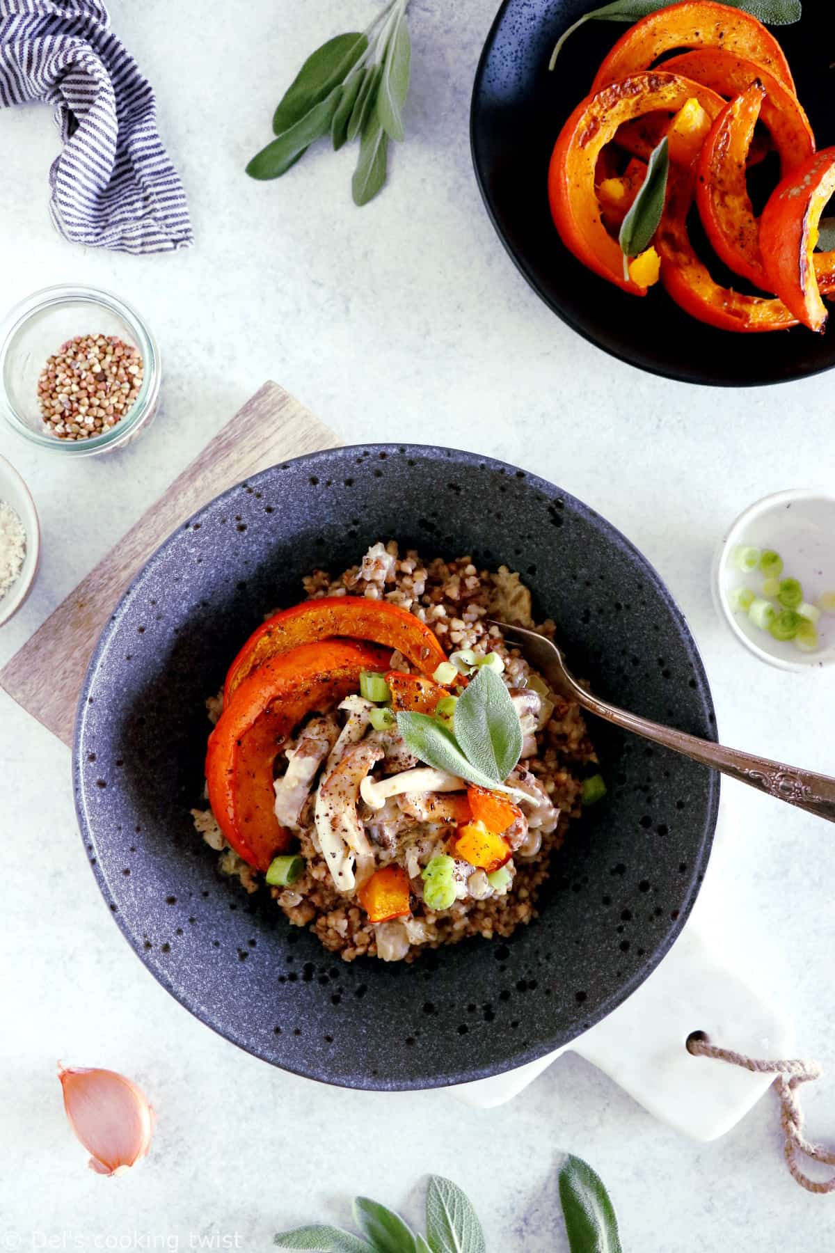 Subtle and elegant, this wild mushroom and roasted squash buckwheat risotto is a great alternative to your classic rice risotto.