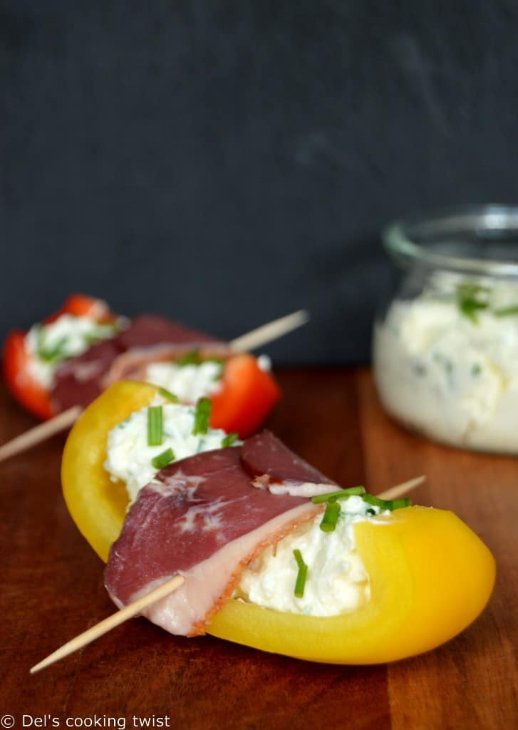 Grilled Pepper Tapas wrapped with Smoked Duck Breasts