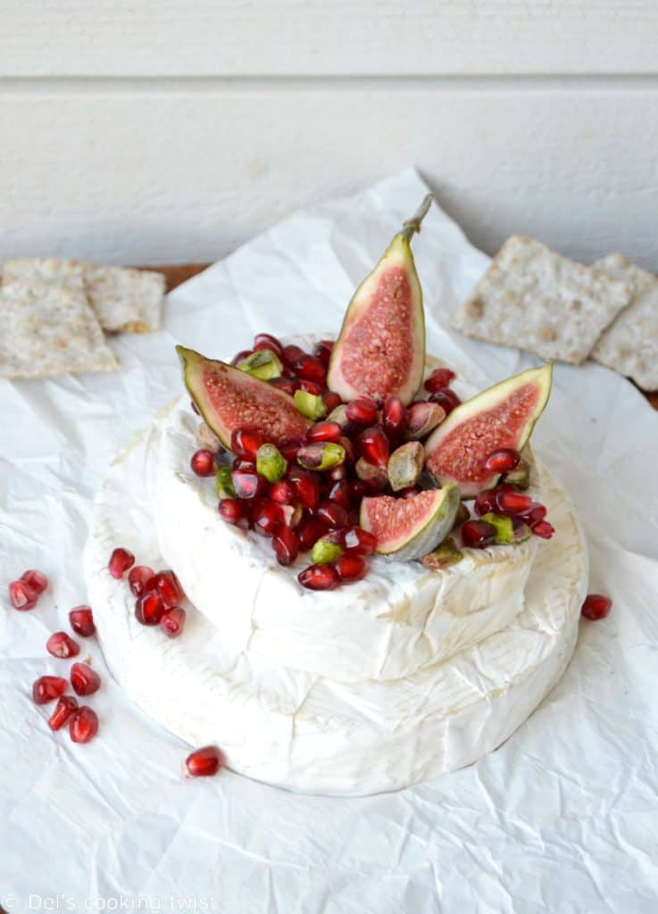Brie camembert pyramid with ponegranate and pistachio