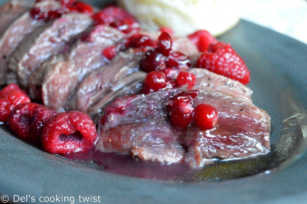 Duck Breast with a Honey Raspberry & Cranberry Sauce