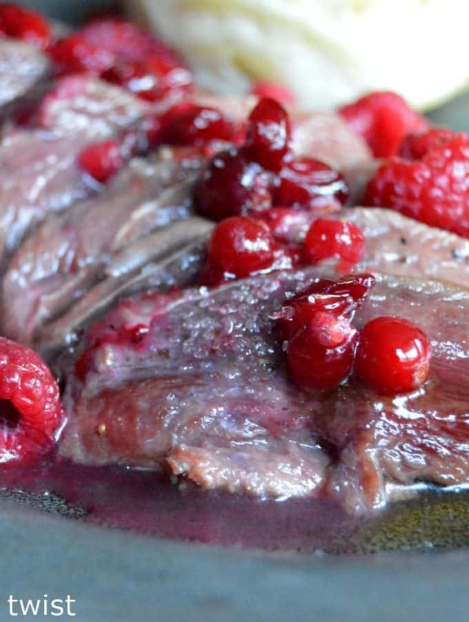 Duck Breasts with a Honey Raspberry & Cranberry Sauce