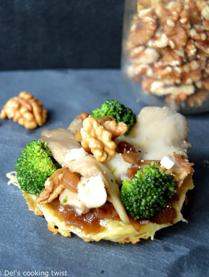 Saint Marcelin Cheese tartlets with Oyster Mushrooms, Broccoli and Walnut Vinaigrette