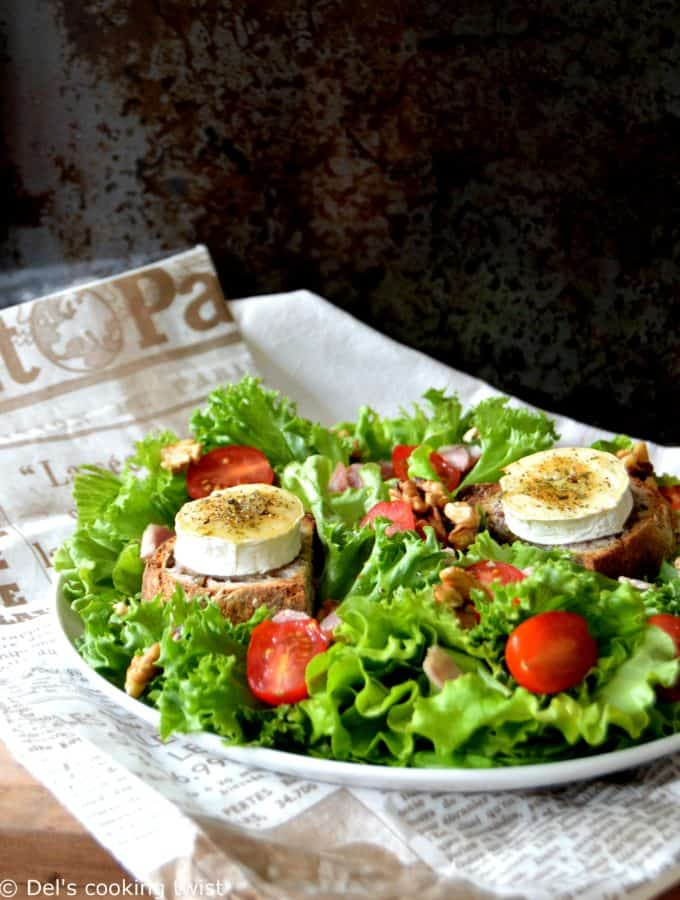 Warm Goat Cheese Salad with a Spicy Dressing