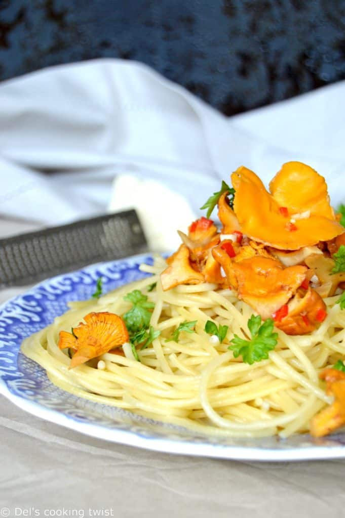 Spaghetti with chanterelles and cognac