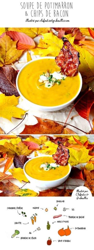 Roasted pumpkin soup with illustration by Clafoutis et gribouillis